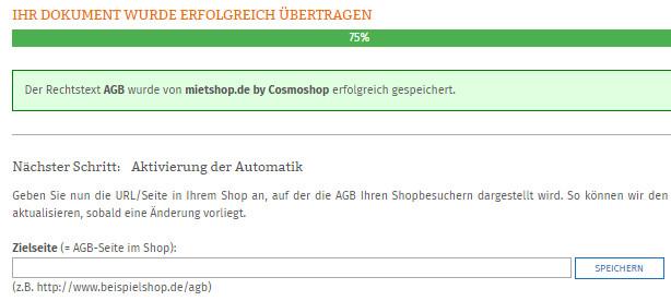 Statusanzeige nach erfolgreicher Übertragung der AGB zu mietshop.de