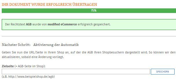 Statusanzeige nach erfolgreicher Übertragung der AGB zu modified eCommerce
