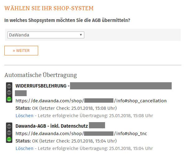 Statusmeldung Dawanda nach Fertigstellung