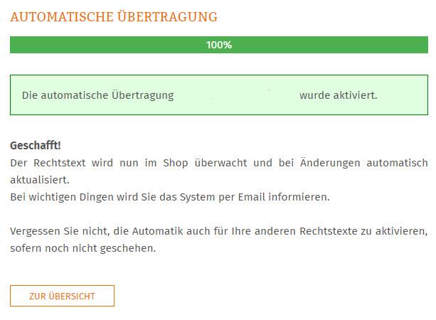 Statusmeldung nach Abschluss der Aktivierung der automatischen Übertragung
