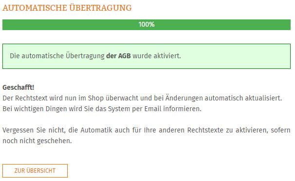 Statusmeldung nach Aktivierung der Automatik für Azoo