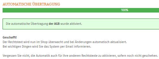 Statusmeldung nach dem Starten der Aktualisierungs-Automatik
