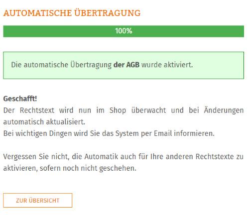 Statusmeldung nach erfolgreicher Einrichtung der AGB Aktualisierungs-Automatik