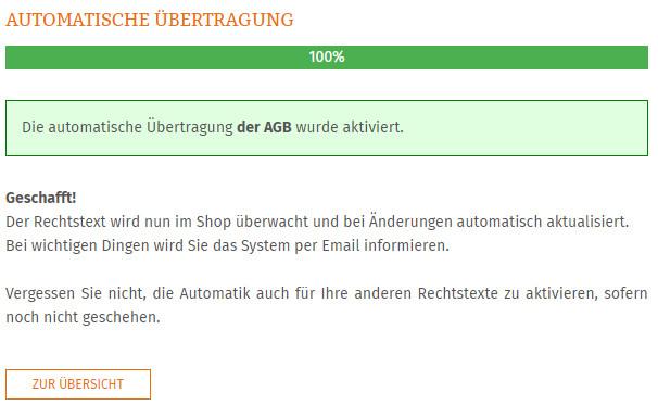 Statusmeldung nach erfolgreicher Einrichtung der Aktualisierungsautomatik
