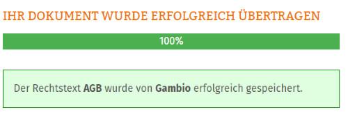 Statusmeldung nach erfolgter Übertragung der AGB zu Gambio