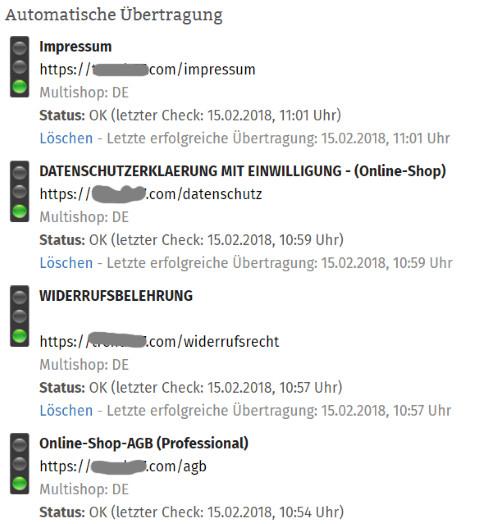 Statusmeldung nach kompletter Aktivierung der Automatik