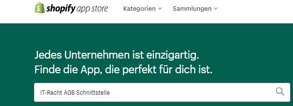 Suche nach der AGB-Schnittstelle der IT-Recht Kanzlei im Shopify App Store
