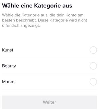 TikTok Auswahl Kategorie für Pro Konto