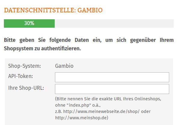 Token und Shop-URL von Gambio hinterlegen