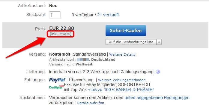 Umsatzsteuerhinweis auf eBay