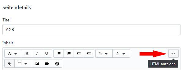 Umschalten auf html-Ansicht bei der AGB Eingabe