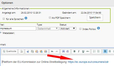direkt klickbarer OS-Link im DR-Webshop Impressum