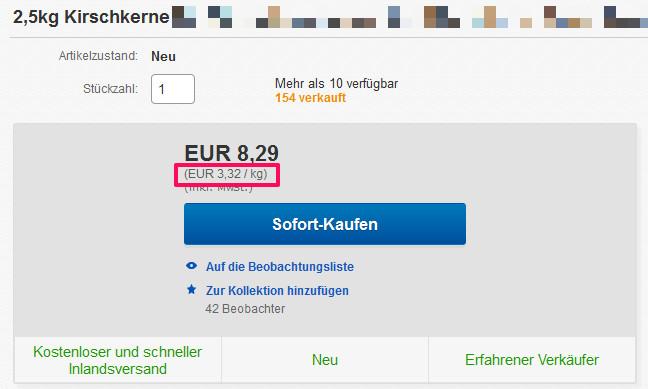 eBay Grundpreis 3