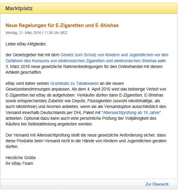eBay Pressemitteilung wegen Verkauf von E-Zigaretten