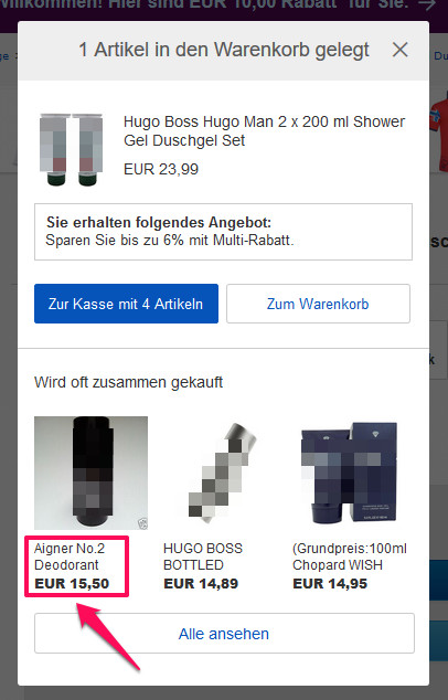 eBay Warenkorb Grundpreis 1