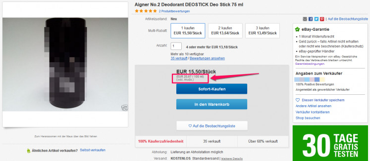 eBay Warenkorb Grundpreis 2