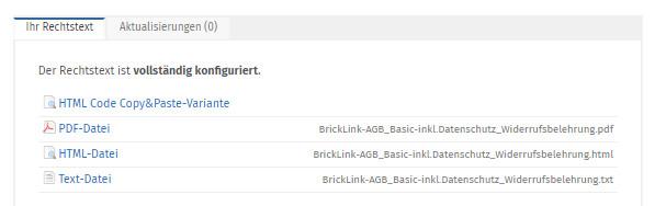 fertig konfigurierte Rechtstexte für Bricklink