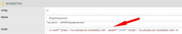 formattierte Eingabe des OS-Links