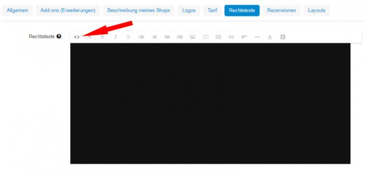 html Copy & Paste Variante für die Eingabe der kayamo Rechtstexte