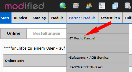 modified eCommerce - Partnermodule - Auswahl IT-Recht Kanzlei