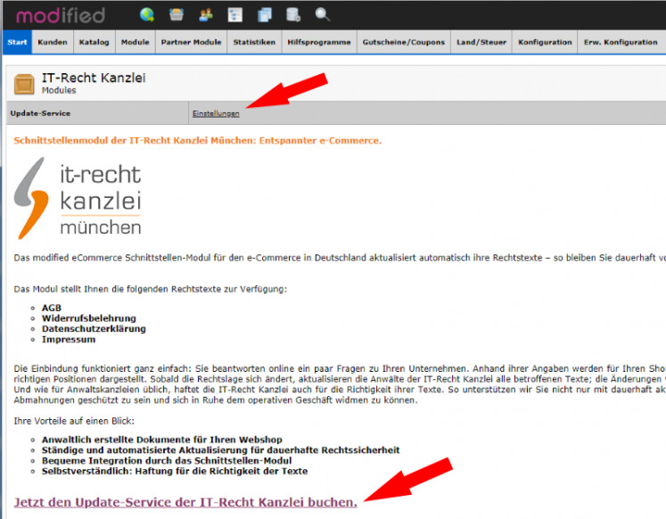 modified eCommerce - Übersicht AGB-Service der Kanzlei