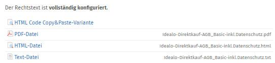 verfügbare Formate der Idealo-Rechtstexte