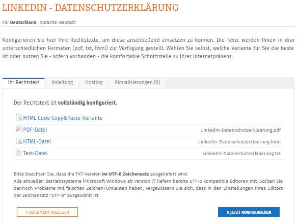 verfügbare Formate der LinkedIn Datenschutzerklärung