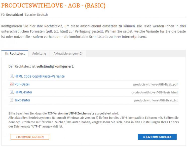 verfügbare Textformate der Rechtstexte für productswithlove