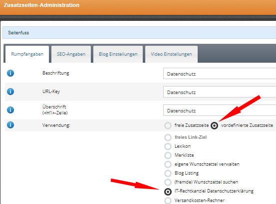 vordefinierte Zusatzseite Datenschutzerklärung bei Cosmoshop