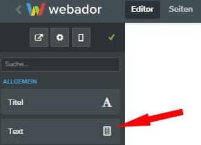 webador - Auswahl Textelement für die Fußzeile