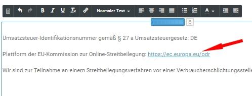webador - Impressum mit anklickbarem OS-Link