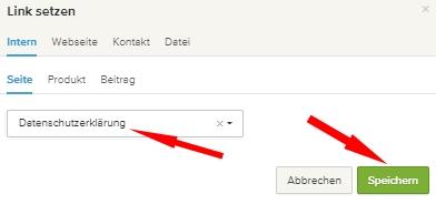 webador - Seite auswählen und speichern
