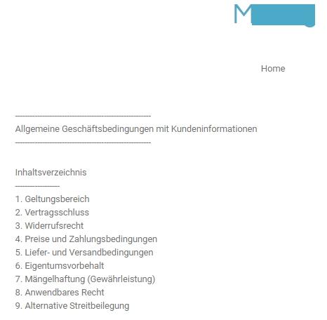 webador - formatierter Rechtstext auf der Seite